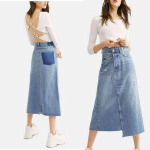 Free People Reworked Denim Midi Skirt Asymmetric